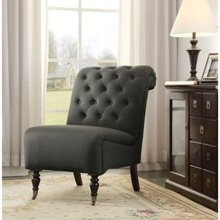 Linon Sophie Grey Fabric Tufted Back Accent Chair, Black Legs