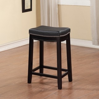 Linon Manhattanesque Backless Counter Stool with Black Vinyl Seat