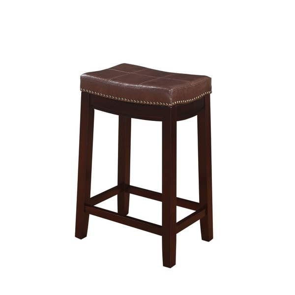 Linon Manhattanesque Backless Counter Stool Brown Vinyl