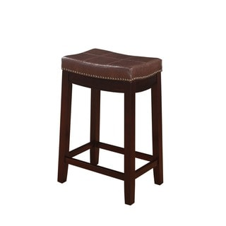 Linon Manhattanesque Backless Counter Stool, Brown Vinyl Seat