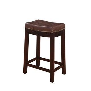Linon Manhattanesque Backless Counter Stool, Brown Vinyl Seat