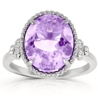 Annello By Kobelli Goldplated Silver Oval Shape Amethyst Diamond Accent Ring (G-H, I1