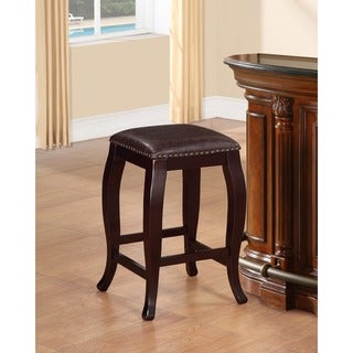 Linon Pinnacle Backless Counter Stool Warm Brown Seat