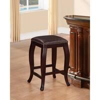 Linon Pinnacle Backless Counter Stool Warm Brown Seat