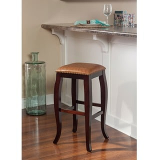 Linon Pinnacle Backless Bar Height Stool Dusty Brown Seat