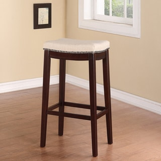 Linon Entice Backless Bar Stool, Cream Linen & Nail head Trim