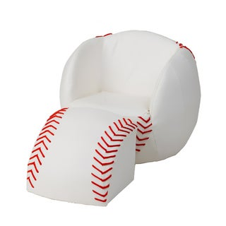 Gift Mark Child's Upholstered Baseball Sports Chair with Ottoman