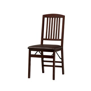 Linon Lesvos Espresso Mission Folding Chair, Dark Brown Seat (Set of 2)