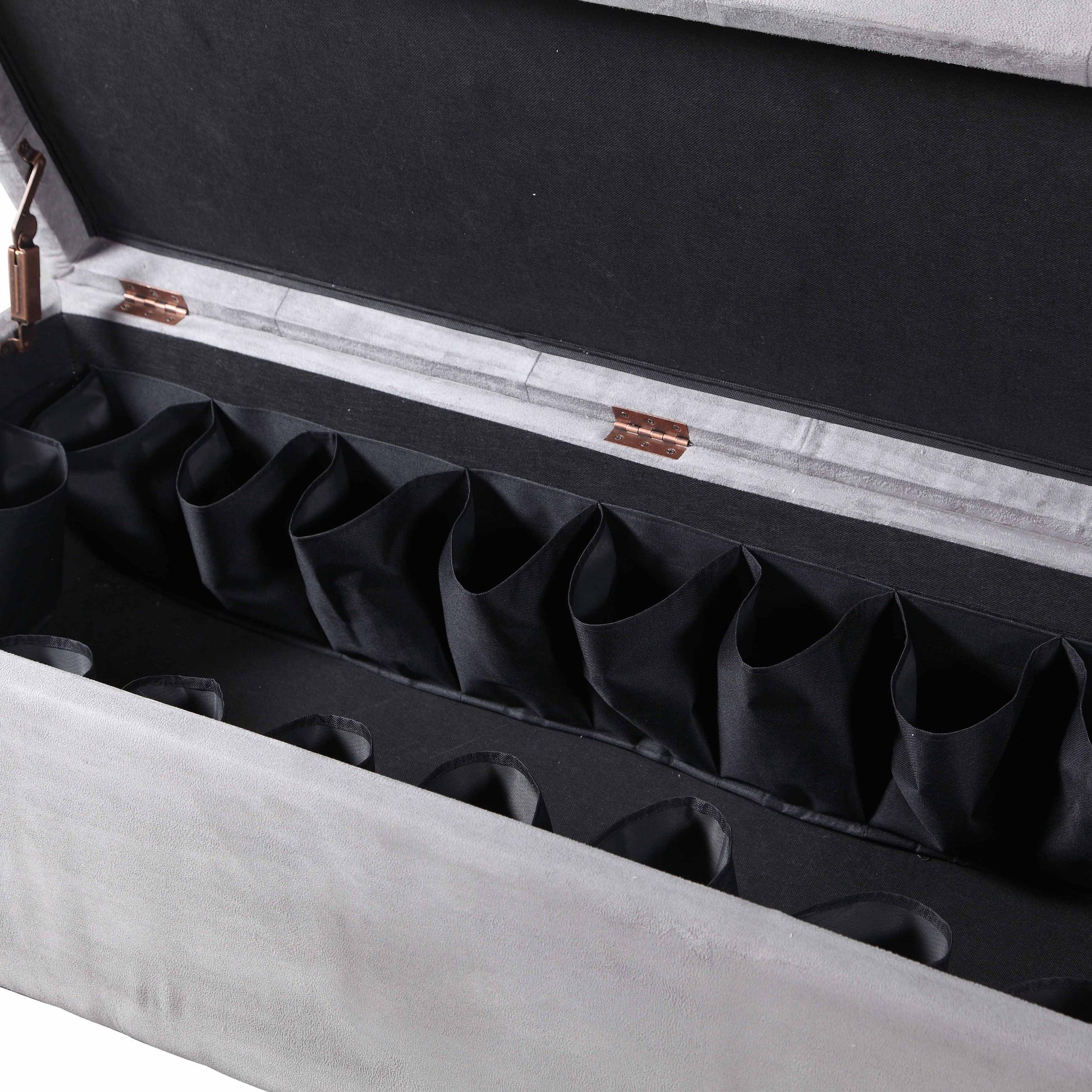 Clay Alder Home Riley Gray Tufted Flip-Top Ottoman with Shoe Storage