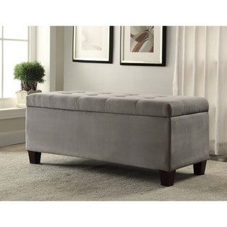 Linon Yolanda Gray Tufted Flip-Top Ottoman with Shoe Storage