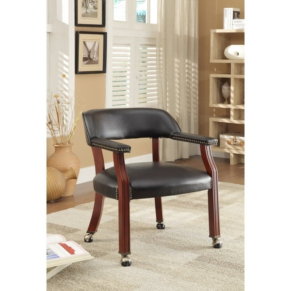 "Coaster Company Black Caster Wheel Guest Chair - 25"" x 26"" x 30"""
