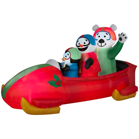 Animated Bobsled Team Penguin, Snowman and Teddy Bear