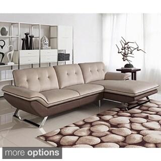 Bella 2-piece Contemporary Cappuccino Fabric Sectional Sofa Set