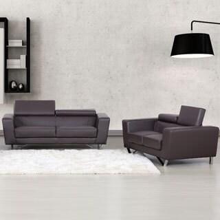 Edam Chocolate Contemporary 2-piece Leather Furniture Set