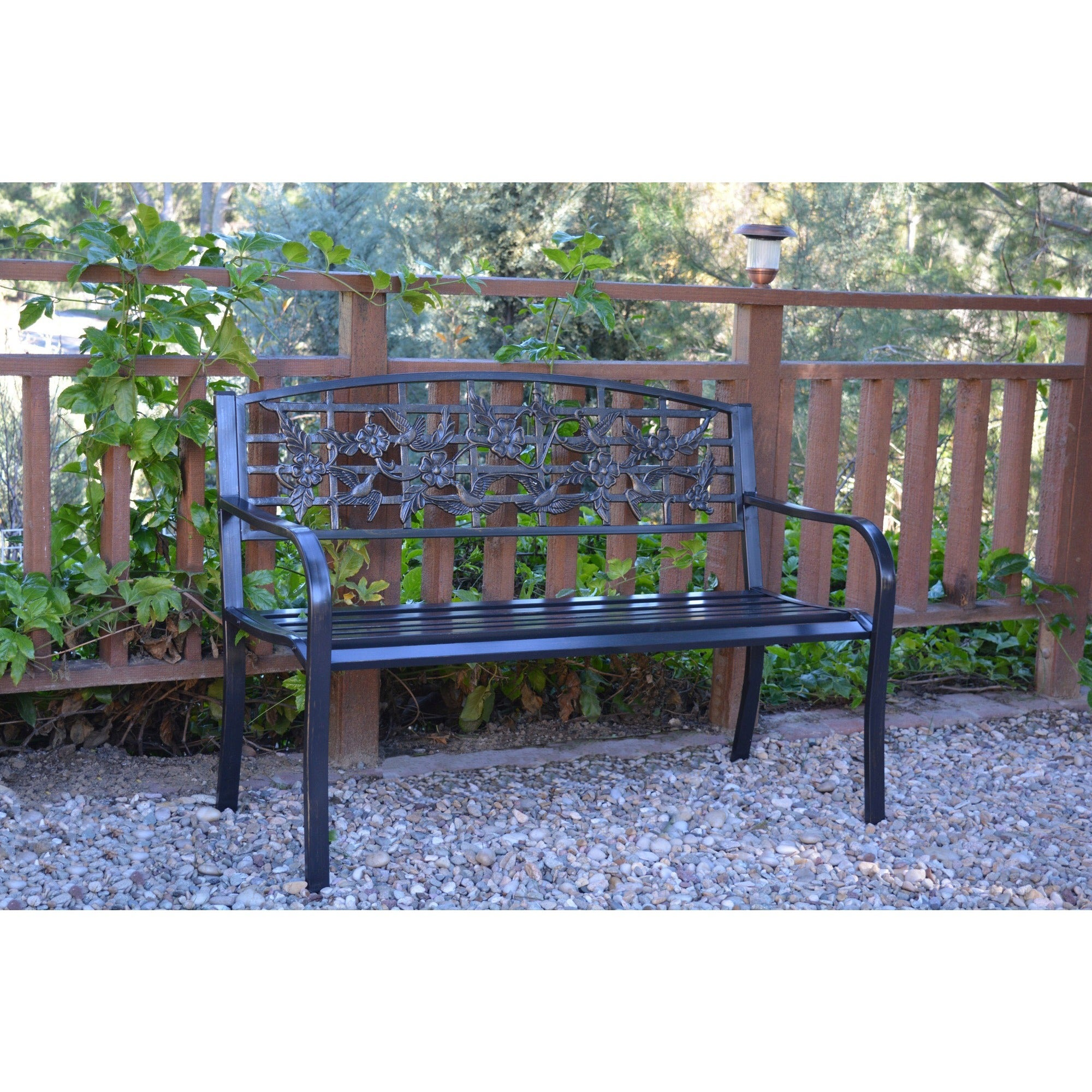 50 Inch Flowers And Bird Curved Back Steel Park Bench 685024330670