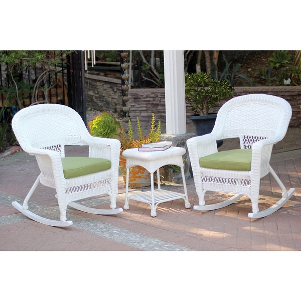 3 Piece White Rocker Wicker Chair Set With Cushions