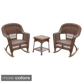 3-piece Honey Rocker Wicker Chair Set with Cushions