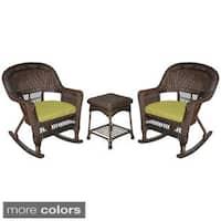 3-piece Espresso Rocker Wicker Chair Set with Cushions