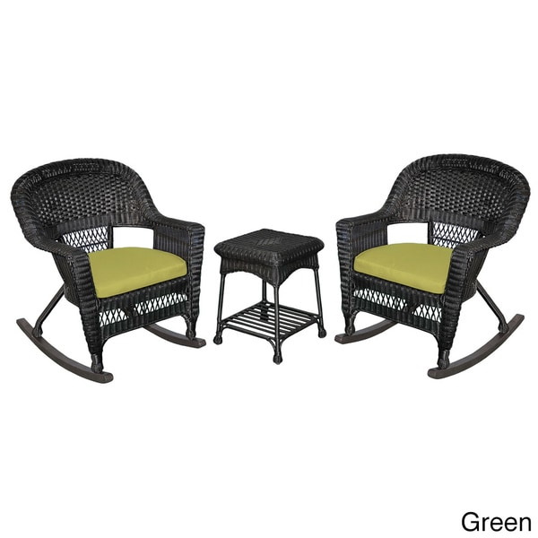 Piece black rocker wicker chair set with cushions 16465361