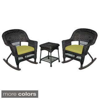 3-piece Black Rocker Wicker Chair Set with Cushions