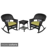 3-piece Black Rocker Wicker Chair Set with Cushions
