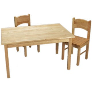 Gift Mark Home Kids Children Natural Hardwood Rectangle Table and Chair Set