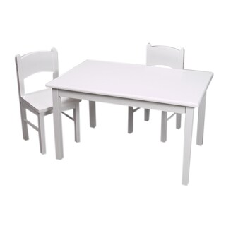 Gift Mark Home Kids Natural Hardwood White Rectangle Table and Chair Set