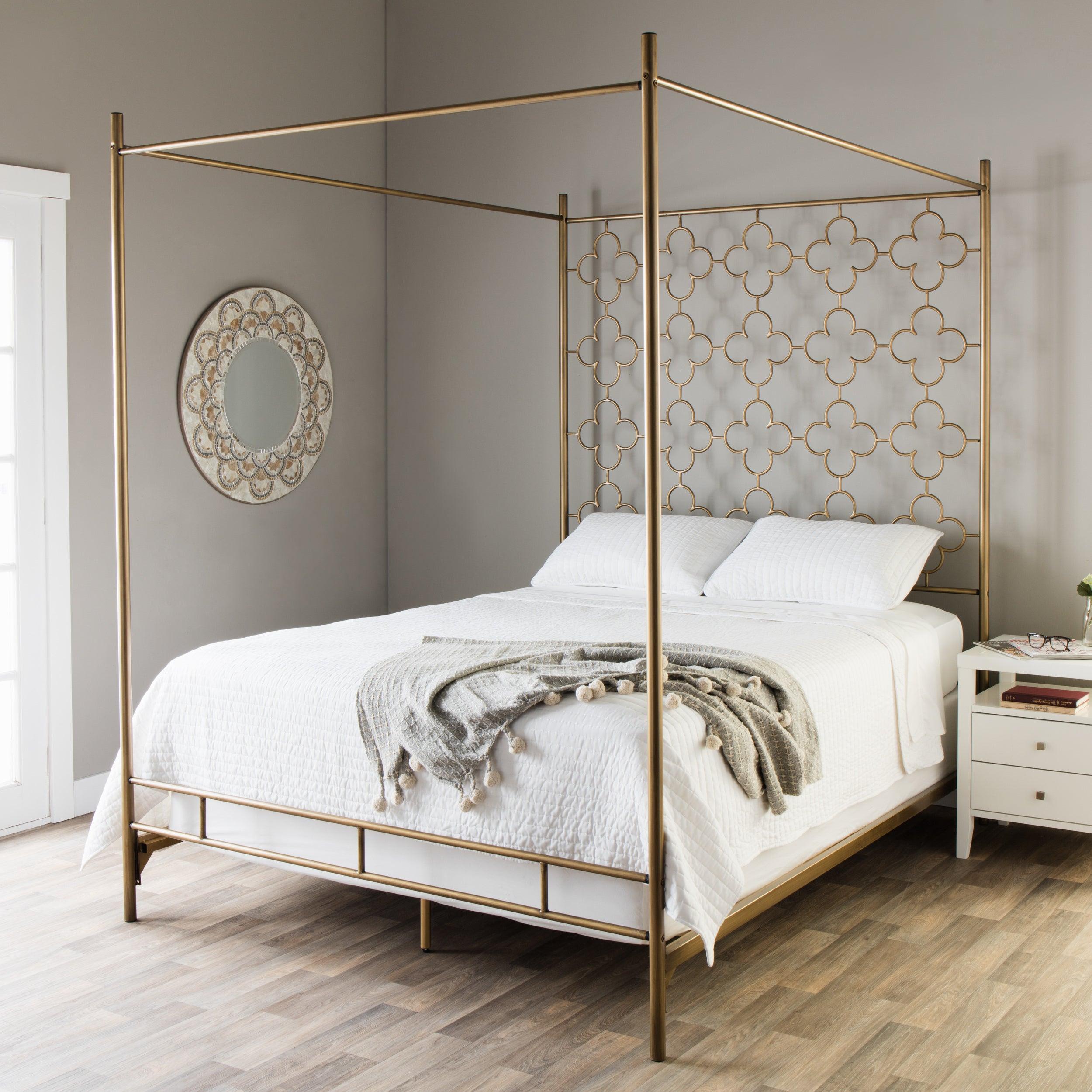Retro Glitz Brushed Goldtone Quatrefoil Queen Canopy Bed