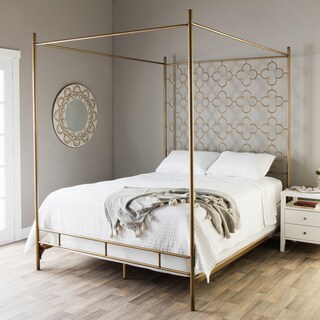 The Curated Nomad Retro Glitz Brushed Goldtone Quatrefoil Queen Canopy Bed