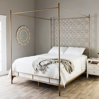 Silver Orchid Mifune Retro Glitz Brushed Goldtone Quatrefoil Queen Canopy  Bed