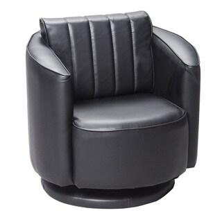 Gift Mark Home Black Upholstered Swivel Chair