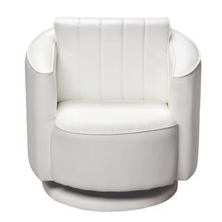 Gift Mark Home White Upholstered Swivel Chair