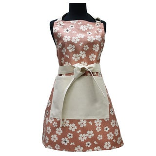 Adult Vingate Pink Flower Organic Cotton Butcher Apron