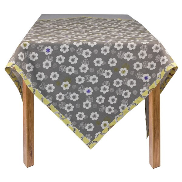 Superb Organic Cotton Grey Poppies Square Tablecloth 60 X 60