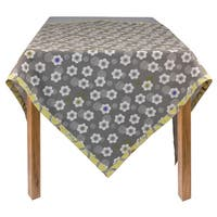 Organic Cotton Grey Poppies Square Tablecloth 60 x 60
