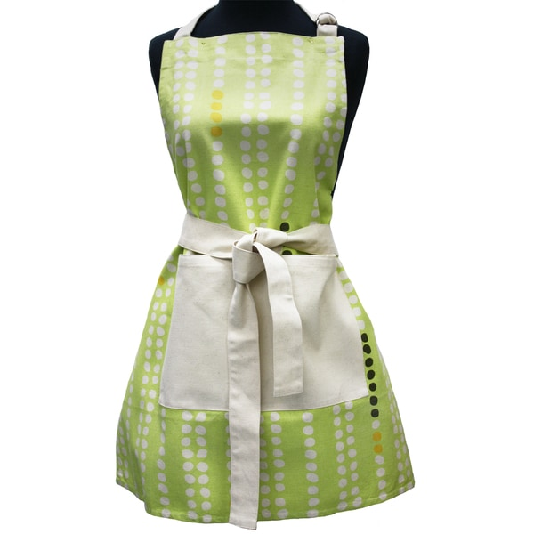 Adult Green Dots Organic Cotton Butcher Apron