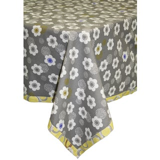 Grey Poppies Organic Cotton Rectangle Tablecloth