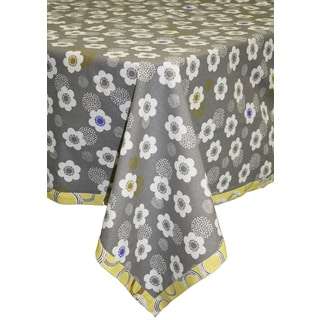 Organic Cotton Grey Poppies Rectangle Tablecloth 60 x 84