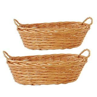 Wald Imports 17.5-inch Oval Willow Basket (Set of 2)