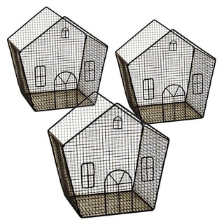 Wald Imports 8-inch Metal Wire House (Set of 3)