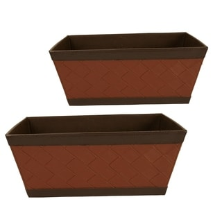 Wald Imports 13.25-inch Faux Leather Sided Tote (Set of 2)