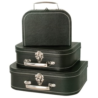 Wald Imports Black Paperboard Suitcases (Set of 3)