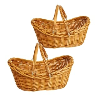 Wald Imports 13.5-inch Honey Brown Willow Basket (Set of 2)
