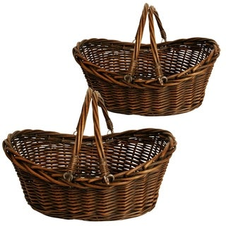 Wald Imports 17-inch Dark Willow Basket (Set of 2)