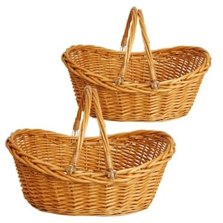 Wald Imports 17-inch Honey Brown Willow Basket (Set of 2)