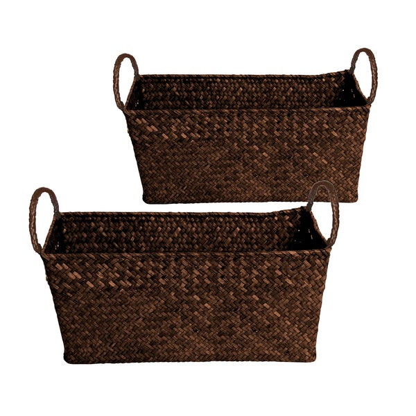 Wald Imports Large Seagrass And Reed Basket (Set Of 2
