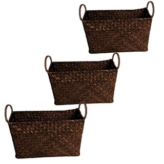 Wald Imports Small Seagrass and Reed Basket (Set of 3)