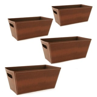 Wald Imports 13-inch Brown Paperboard Tote (Set of 4)