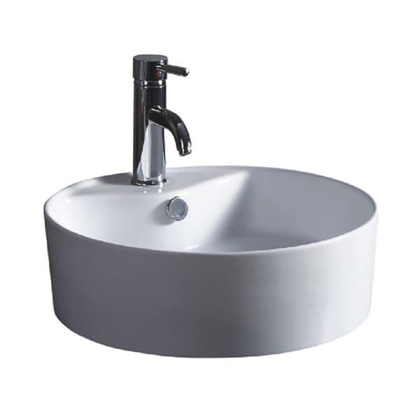 Wells Sinkware Round Vitreous White Ceramic Single Bowl Sink