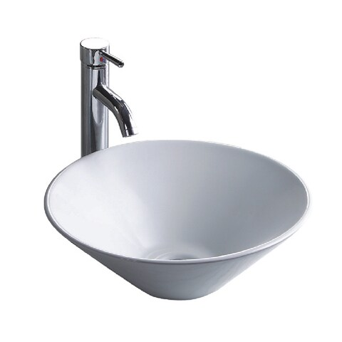 Wells Sinkware Round Vitreous White Ceramic Single Bowl Lavatory Sink